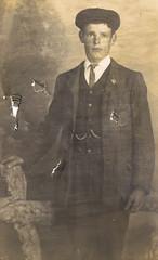 Man with flat cap (pepandtim) Tags: old early flat postcard nostalgia cap nostalgic damaged 66mfc67