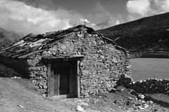 Himalayan Hut (cormend) Tags: travel nepal blackandwhite bw house mountain snow trekking trek canon walking eos town asia village walk hike hut valley khumbu himalayas 50d gokyori machermo cormend