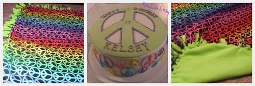 Peace sign blanket and cake