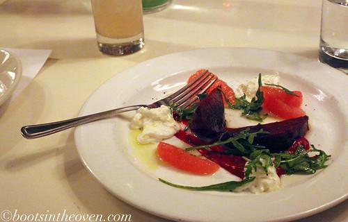 Beet and Rio Star Grapefruit Salad, burrata/arugula/basil