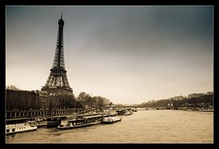 A river runs through it..... (Emm Ess) Tags: paris france seine sepia river sony eiffeltower latoureiffel laseine pontdina sonyalpha ladamedefer minoltaamount slta55 sony55
