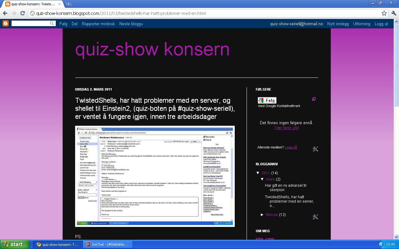 problemer med quiz-boten quiz-show konsern