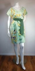chickadee dress 002 (moremirthquake) Tags: green bird fashion illustration silk chickadee ginkgobiloba summerdress poecileatricapillus