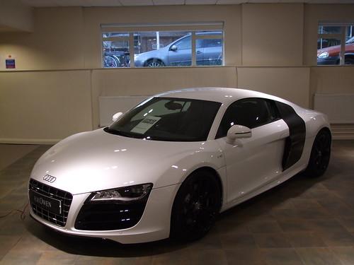 White Audi R8 Black Rims. Audi R8 V10