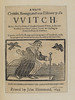 Title page of A most certain, strange and true discovery of a witch