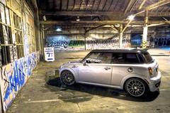 Empty Spot (MikeMcGeePhoto) Tags: auto urban art car graffiti nikon driving interior garage tag sigma wideangle mini tires showroom bmw minicooper rims 2008 blackjack motoring 10mm hoodscoop puresilver tubro r56 d7000