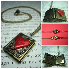 Book Lover Locket Necklace (Hollyrocks) Tags: red glitter silver book necklace student poetry heart reader library jewelry literature romance sparkle study brass bookworm accessory locket hollyrocks
