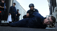 Member of USS Reuben James detains a Sailor playing role of suspect. (Official U.S. Navy Imagery) Tags: training navy pacificocean sailor usnavy shipboard guidedmissilefrigate ussreubenjamesffg57 koakai