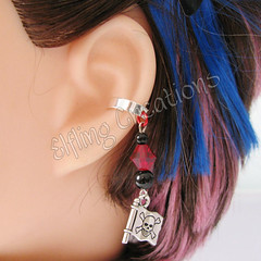 Red and Black Pirate Cartilage Ear Cuff - Jolly Roger
