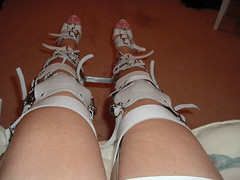 Front View From the Perspective of the Brace Wearer (KAFOmaker) Tags: feet leather fetish foot high control legs braces lock sandals steel leg wrapped encased bondage device strap torso heel elk straight tight bound buckle locked brace restricted sandal joint buckles chained immobilized restraint restriction polio laced kafo restrained encase orthopedic imprisoned strapped heeled braced restrict buckled encircled immobilize tightly kneepad tlso tlso2