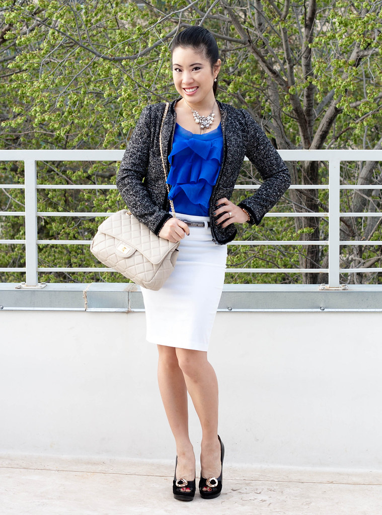 bb dakota herringford tweed jacket bcbgeneration pumps yesstyle quilted purse white skirt