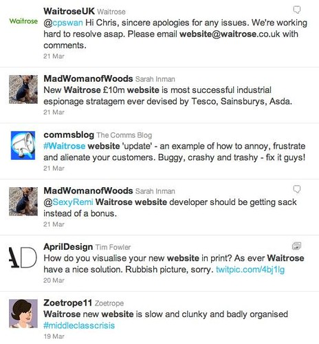 Waitrose website Twitter