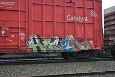 HOSER (They're Listening) Tags: lines bench graffiti letters hose graff piece bomb freight bombing boxcars bh hoser nwk bhg benching