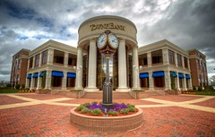 12/52 - Towne Bank (mrbrkly) Tags: flowers clock virginia suffolk bank hdr finance mortgage towne project5212