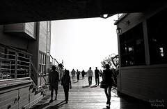 in-and-out (Le Xuan-Cung) Tags: california people urban blackandwhite bw men silhouette lightsandshadows nikon women afternoon santamonica streetshots streetphotography atmosphere streetlife sw contrejour sunnyday polfilter urbanshots nikond1h circularfilter livinginlosangeles lightsanddarks urbanca
