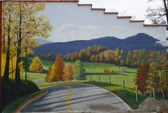 Trompe l'oeil (mystuart) Tags: autumn mountains color art painting nc highway mural openroad trompeloeil burnsville yancey 2011 fooltheeye melystu
