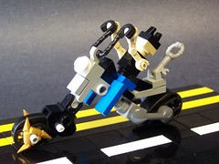 Cruisin down Lego Ave. (monsterbrick) Tags: lego witch harley micro motorcycle biker whiteknight moc