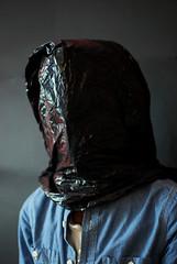 (Richard Cooper Photography) Tags: blue black loss shirt photoshop 35mm bag studio nikon focus head bin identity hood f18 prisoner hooded d60 binbag