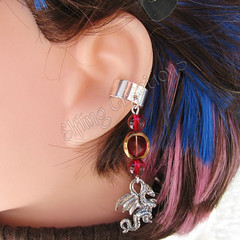 Red and Silver Dragon Cartilage Ear Cuff - Draconic Ire