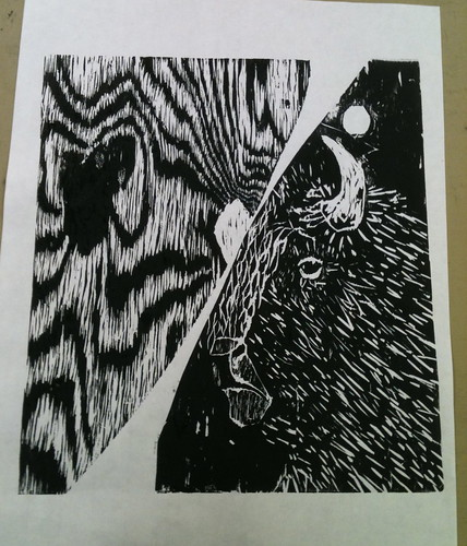 Bison woodcut