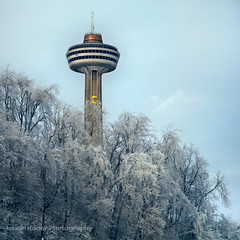 Skylon Tower (fesign) Tags: winter snow ontario canada cold ice yellow landscape niagarafalls frost skylontower bugelevator