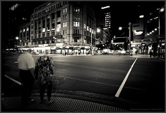 Blur of Time [040/365] - EXPLORE (Danskie.Dijamco.Photography) Tags: street old longexposure nightphotography newzealand blackandwhite bw architecture nikon couple nightlights streetscene lovers architect auckland 365 queenstreet oldcouple 1635mm project365 customsstreet nightarchitecture d700 darkarchitecture
