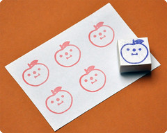Apple hand carved rubber stamp