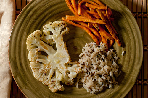 Wild Rice, Roasted Cauliflower, Oven-Fried Sweet Potatoes