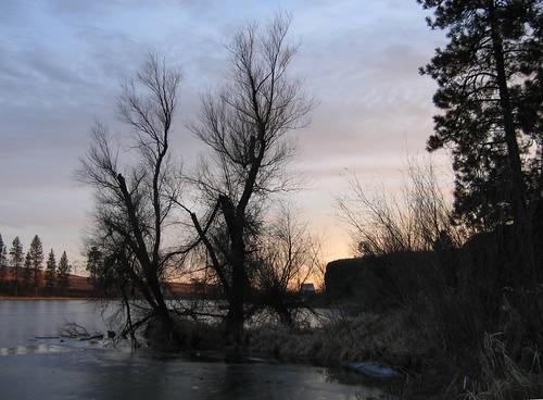 Sunset on frozen Amber Lake