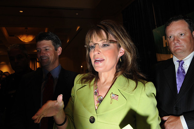 Sarah Palin greets supporters