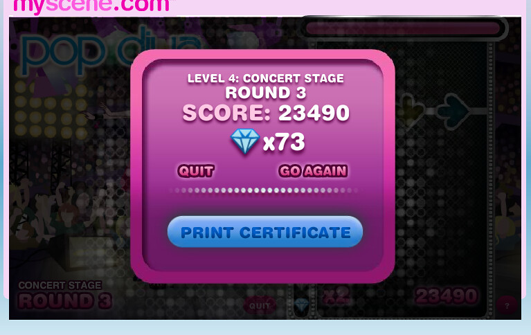 My (OLD!) High Score on MyScene Pop Diva >:D