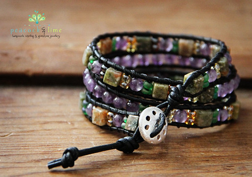 uluwatu ankle snapper (triple wrap leather bracelet) in amethyst