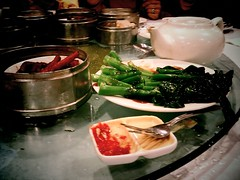 Chicken feet at broccoli at Golden Dragon on Flying Pigeon LA's Get Sum Dim Sum Ride