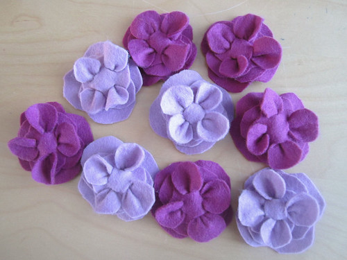 Felt barrettes for the goodie bags