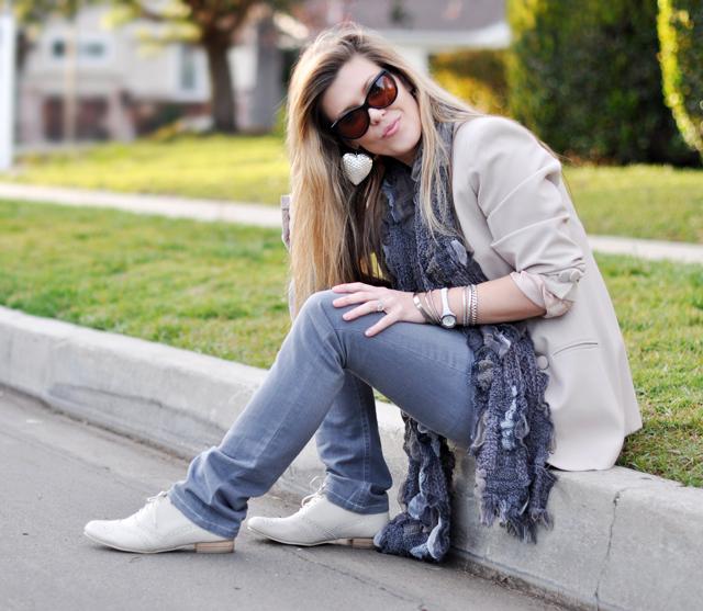 Cream Blazer & Gray Jeans