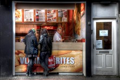 Snack time in Amsterdam (A r l e t t e (reloaded)) Tags: city urban amsterdam work nikon frenchfries snack hamburger snacks cocacola hdr stad arlette patat friet 3xp photomatix vlaamsefrites nikond90