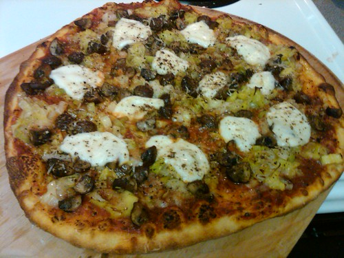 Leek, mushroom and buffalo mozzarella Pizza