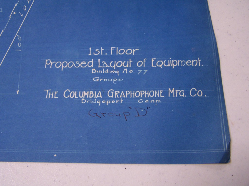 Columbia Graphophone Manufacturing Company Blueprints for Building #77 at the East Plant Facility in Bridgeport, Connecticut USA Production Home of Little Wonder Records - Circa 1917-1918