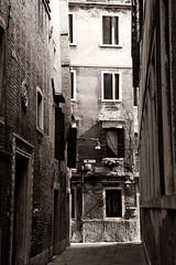 Venice (binsin) Tags: travel venice windows light bw italy texture architecture alleys