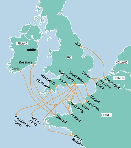 Ferries to France from the UK and Ireland. Map: Anita Razak