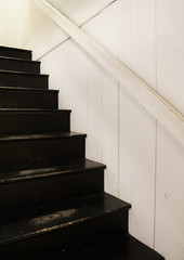 Stairs (Samantha Evans of Samantha Evans Photography) Tags: wood white black vertical horizontal wall stairs georgia wooden boards paint angle painted roswell grain steps diagonal worn handrail railing bulloch treads nationalregisterofhistoricplaces bullochhall
