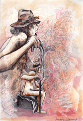 4 (a.Wikegård) Tags: red man sepia pencil watercolor nude sketch mixedmedia pastel figure sharpie storyteller