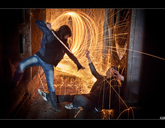 Finish Him !!! (Xavier de Bordeaux) Tags: lightpainting hot de se fight le duel 17 steven cul combat 50 tamron feu fait cramer urbex pe