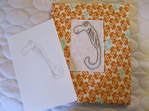 art to embroidery: sea horse