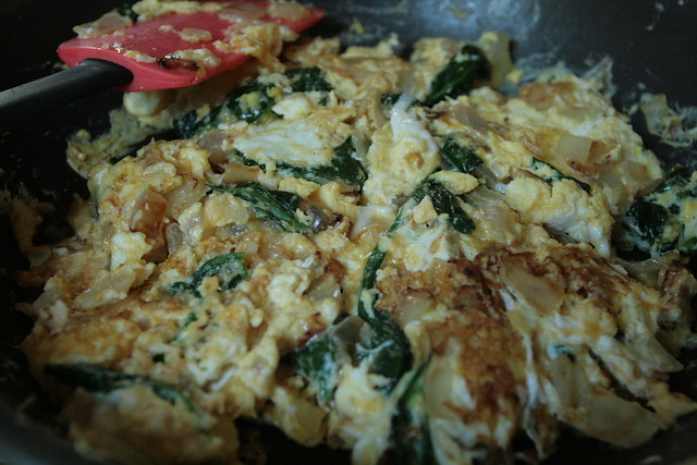 spinach and onion scramble