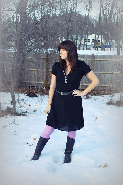 LBD, black dress, purple tights, tall boots