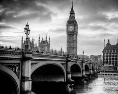 Westminster Bridge and Big Ben (briburt) Tags: bridge sunset england sky blackandwhite bw london tower classic clock water monochrome westminster thames vintage river mono nikon dusk antique housesofparliament bigben whitehall timeless westminsterbridge d90 nikond90 briburt