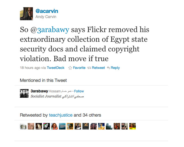 "Flickr Cites ""Community Guidelines"" For Censorship of Egyptian Blogger's Photos"