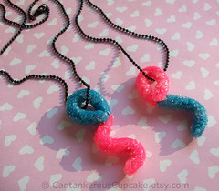 Sour Gummy Worm Necklaces (Cantankerous Cupcake) Tags: necklace candy handmade polymerclay gummyworm