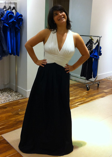 Laura trying on a gown